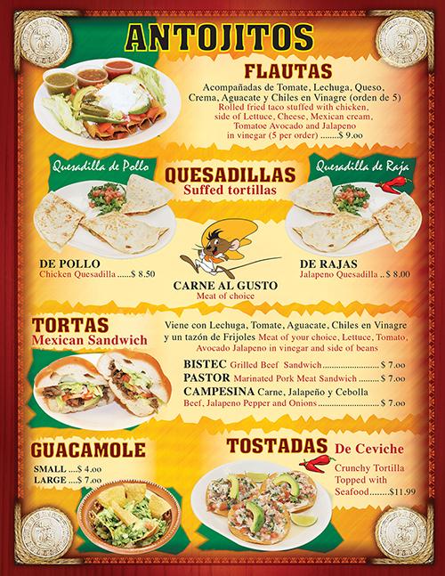 Tacos Madrigal Menu 2016 Page 3
