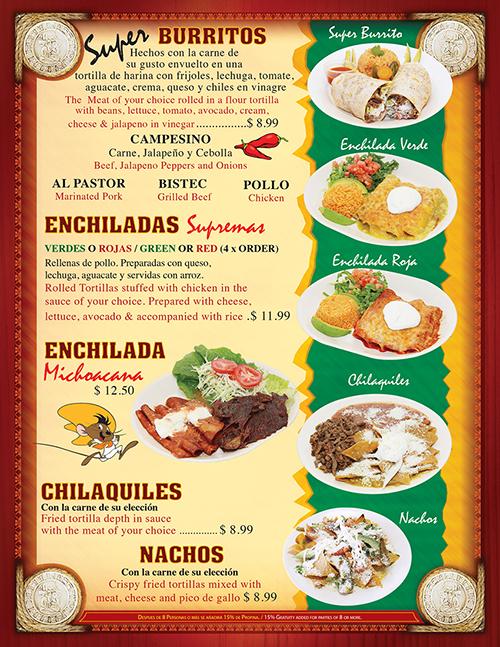 Tacos Madrigal Menu 2016 Page 4