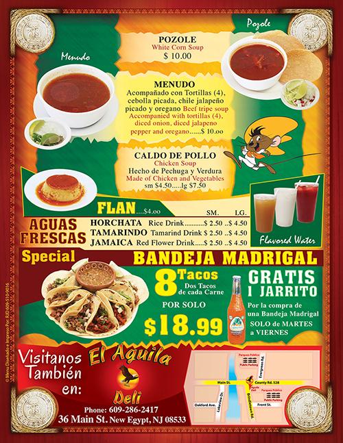 Tacos Madrigal Menu Page 6