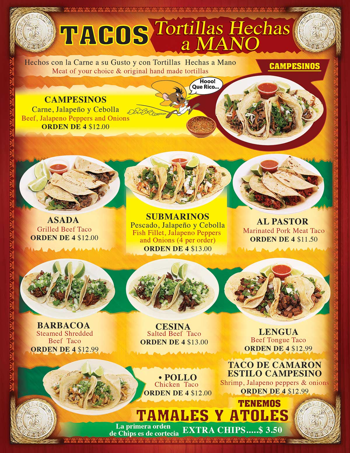 TACOS MADRIGAL MENU PAGE 2