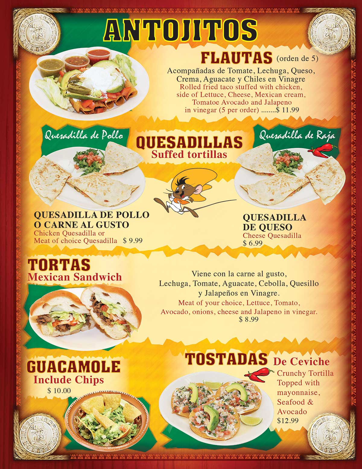 TACOS MADRIGAL MENU PAGE 3