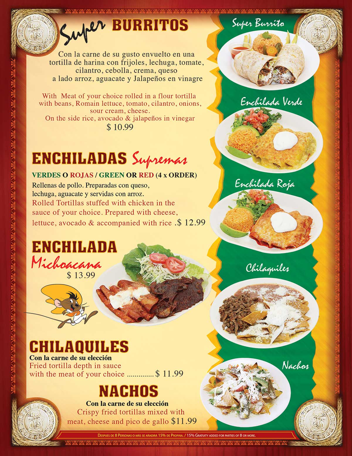 TACOS MADRIGAL MENU PAGE 4