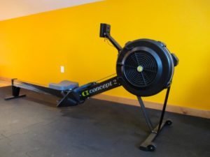 This Concept 2 rower, a great total-body cardio option, is on the second floor of the gym.