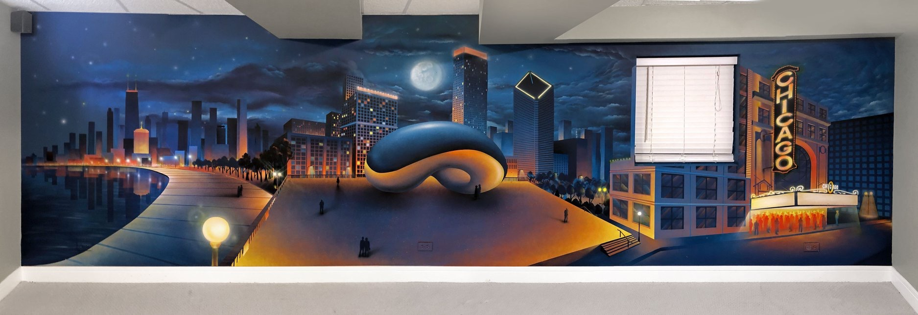 Chicago skyline - spray paint - Yolocone