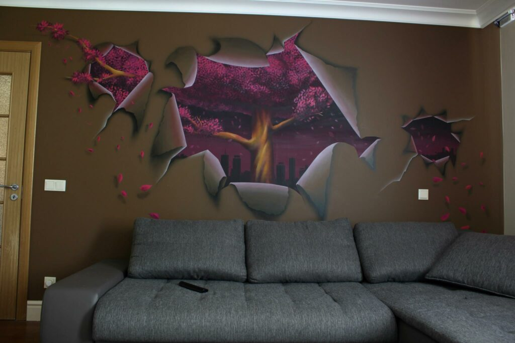 purple tree - spray paint and airbrush - yolocone