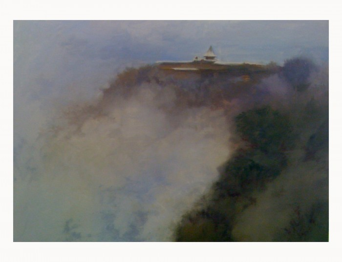 Snow and Fog at El Tovar Oil - by A. Scott