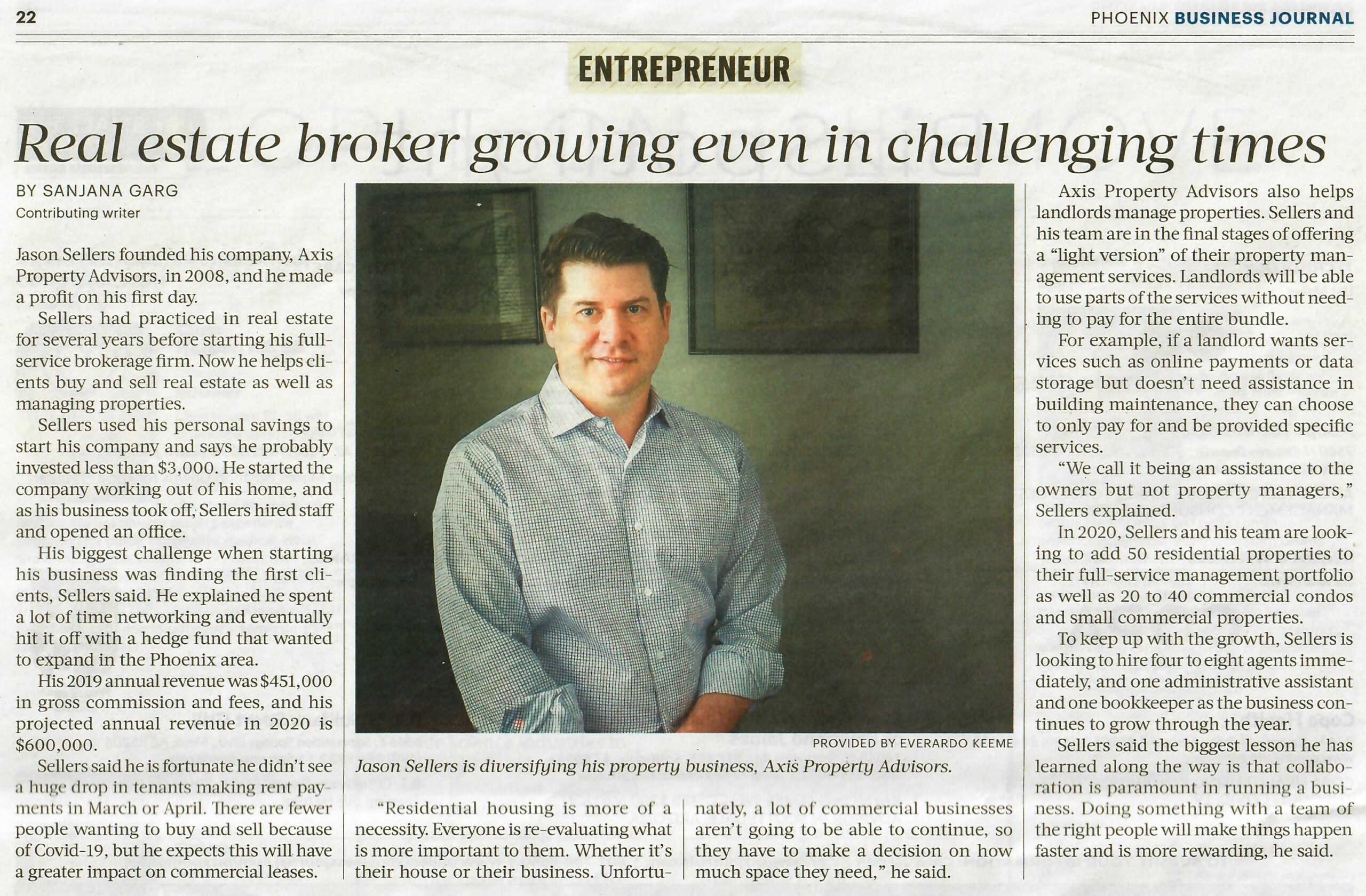 Real estate broker growing even in challenging times