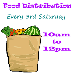 Food Distribution.  Every third Saturday. 10am to 12pm.