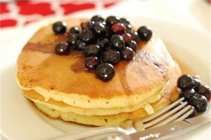 Lemon Cream Cheese Pancakes with Blueberry Maple Syrup via The Naptime Chef