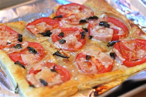 Tomato Parmesan and Basil Tart via The Naptime Chef