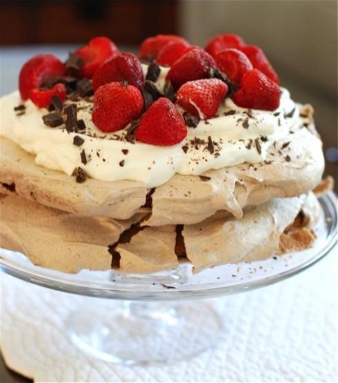 Double Chocolate Strawberry Pavlova via The Naptime Chef
