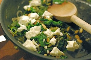 Spinach with Feta & Pine Nuts via The Naptime Chef