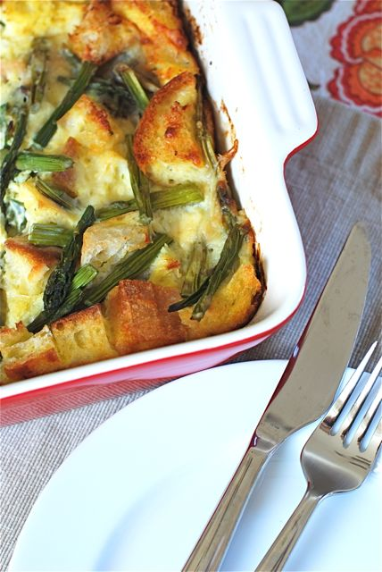 Overnight Asparagus and Musrhoom Strata via The Naptime Chef