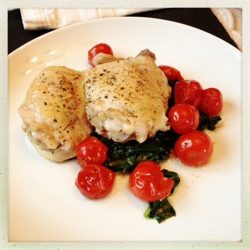 Roast Chicken Thighs with Tomatoes & Shallots