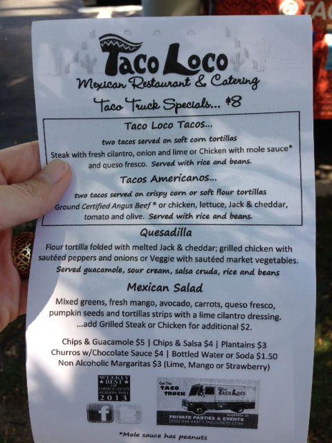 Taco Loco Menu