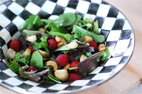 Roasted Garlic, Raspberry & Cashew Salad