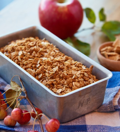 Apple Bread with Golden Graham Streusel
