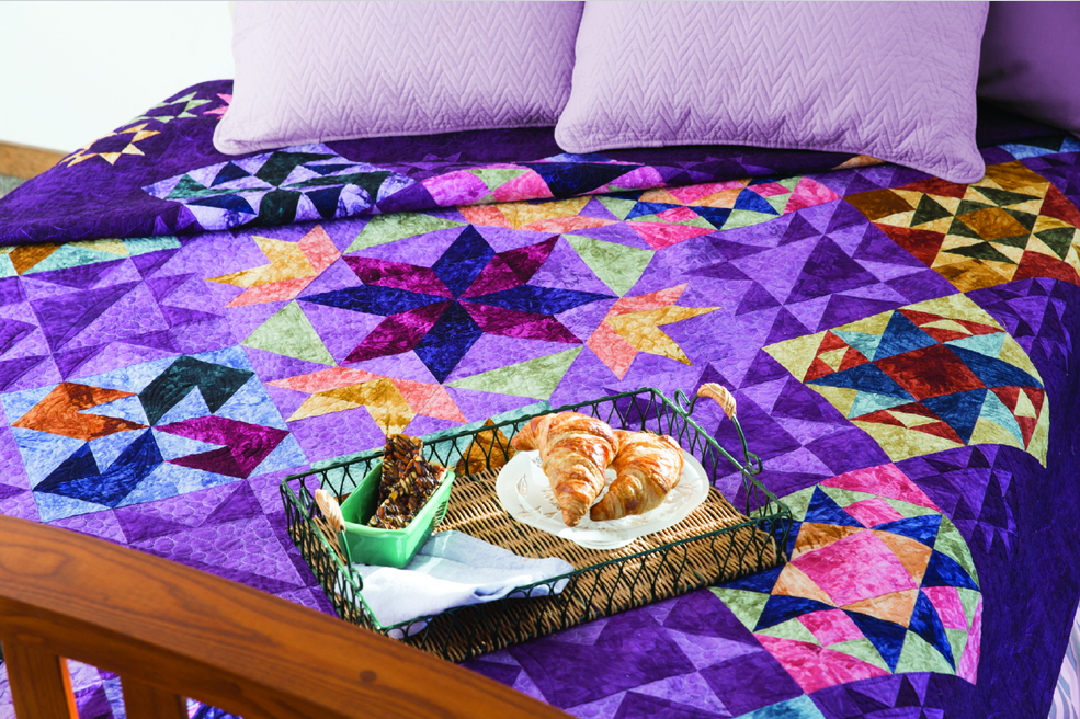 patchwork points Night Day quilt kit