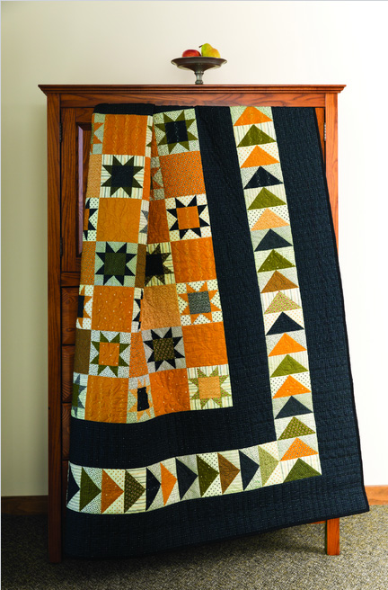 flying geese stars cheddar quilt