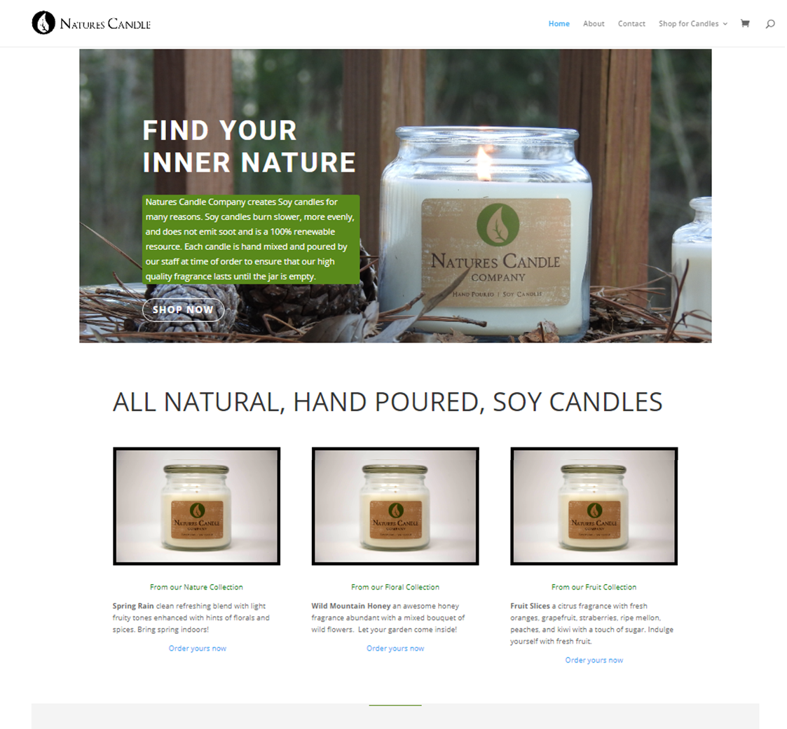 Natures Candle Company screenshot