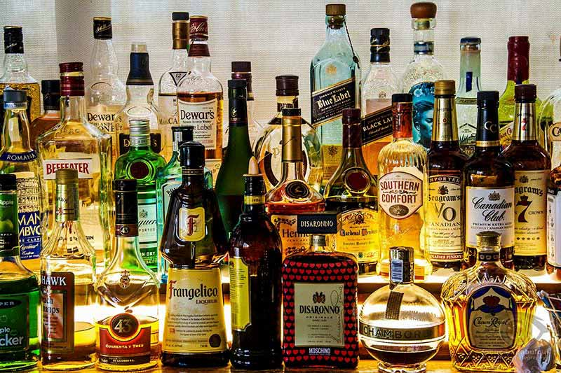 Image of liquor bottles
