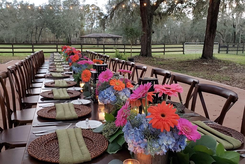 Ceremony Patio Garden BLB Hacienda Reception