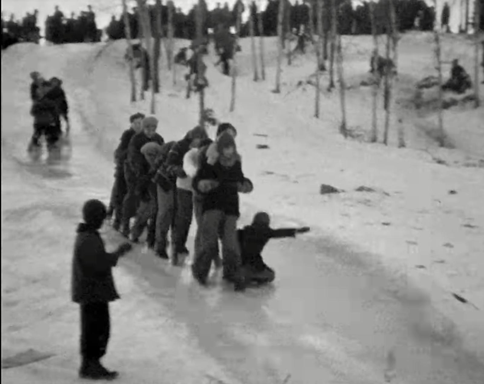 1939 16mm home movie sledding