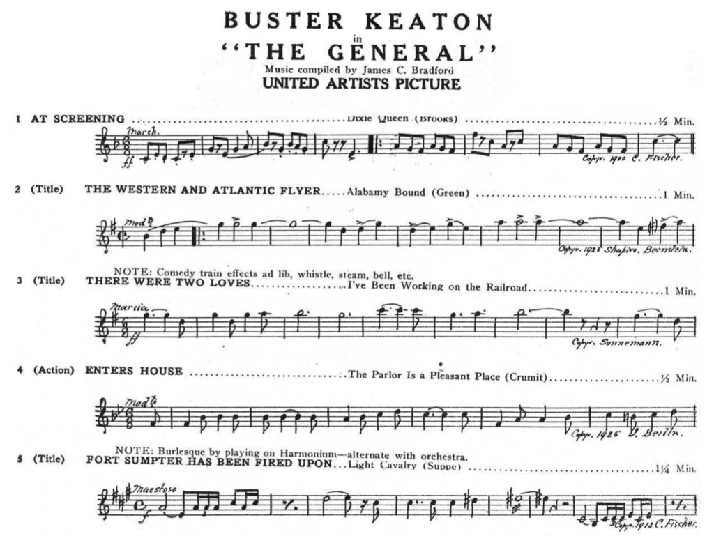 Buster Keaton General Music Cue Sheet