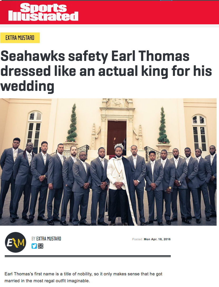 Seahawks safety Earl Thomas dressed like an actual king for his wedding
