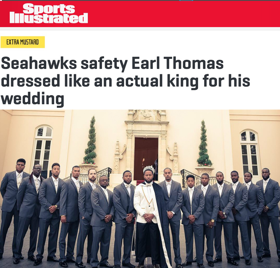 Earl Thomas's first name is a title of nobility, so it only makes sense that he got married in the most regal outfit imaginable.