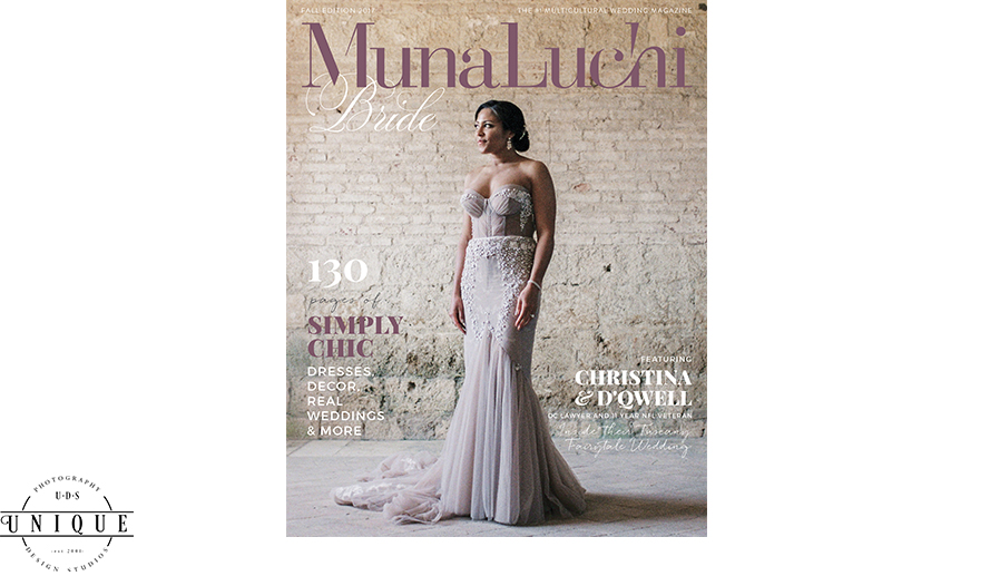 Leslie & Jason Williams' Lavish Wedding Featured in Munaluchi Bridal Magazine