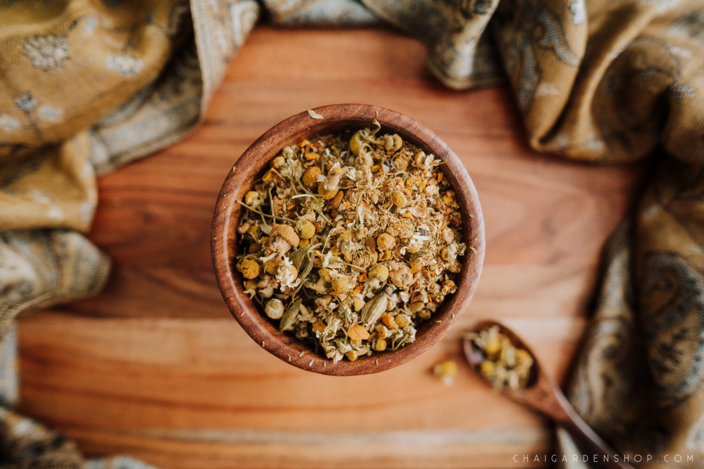 organic chamomile, chamomile chai, organic tea, organic chamomile chai