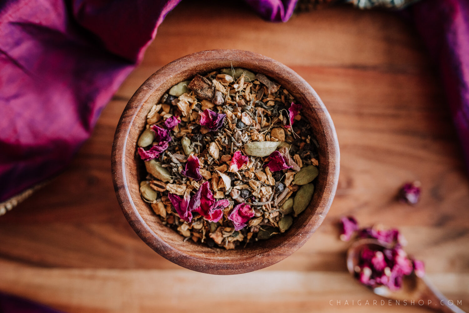 rose petal chai, organic rose petals, organic chai, rose petal tea, chai garden, authentic chai recipe, herbal chai