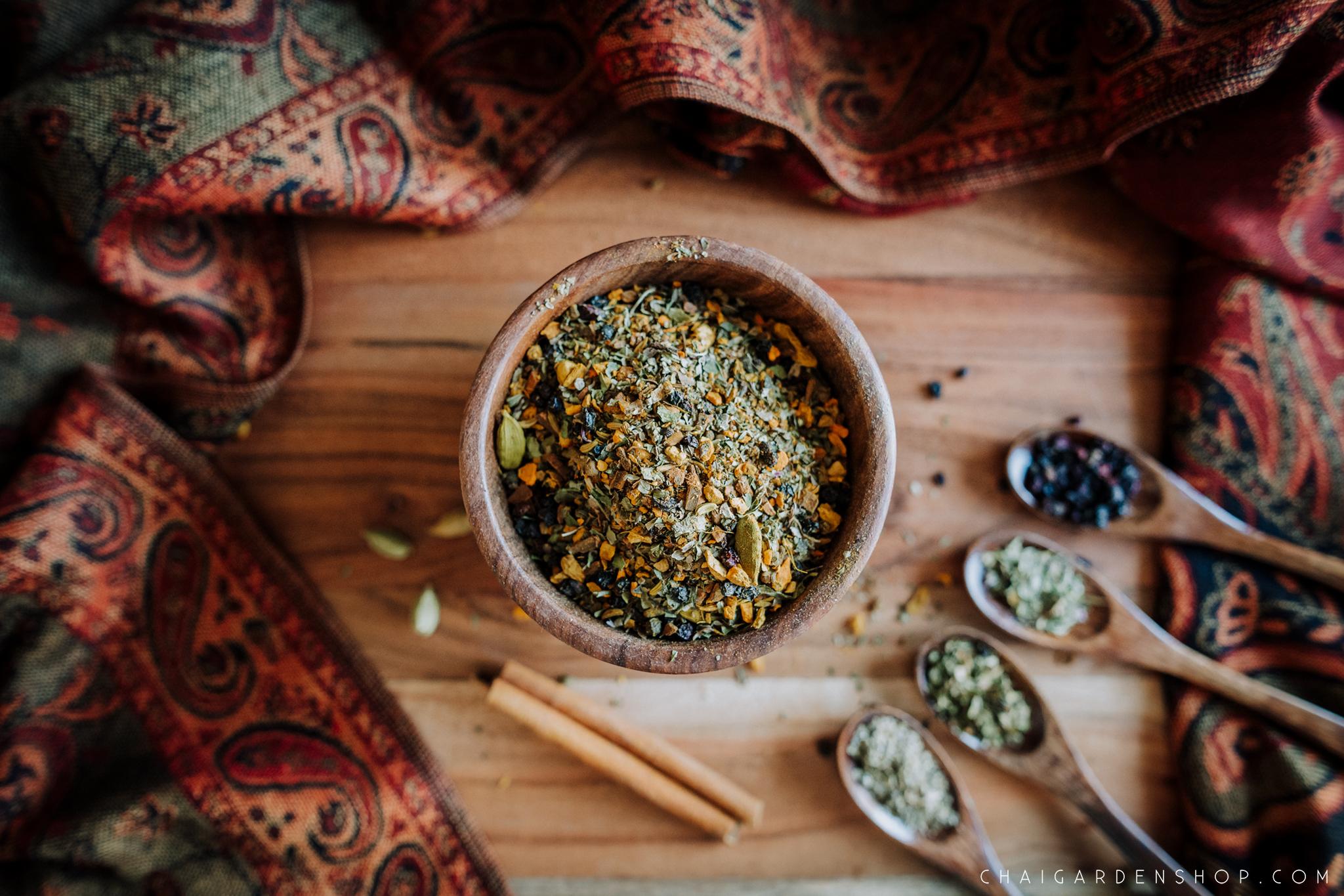 organic cold cure chai, organic elderberries, organic echinacea, organic peppermint, organic rosemary