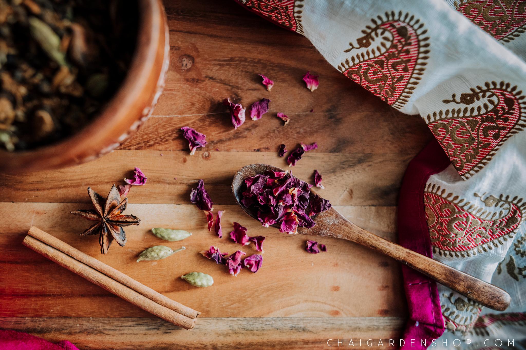 rose petal chai, organic rose petals, organic chai, rose petal tea, chai garden, authentic chai recipe, herbal chai