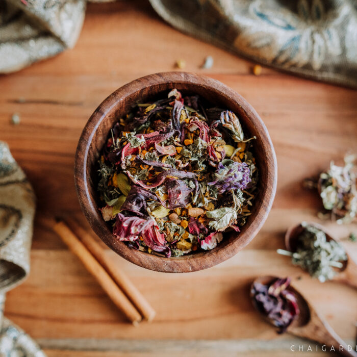 women's-wellness-tea,-well-woman-chai,-women's-health-chai,-menstruation-tea-organic, chai garden, organic herbal chai, organic tea, spokane wa