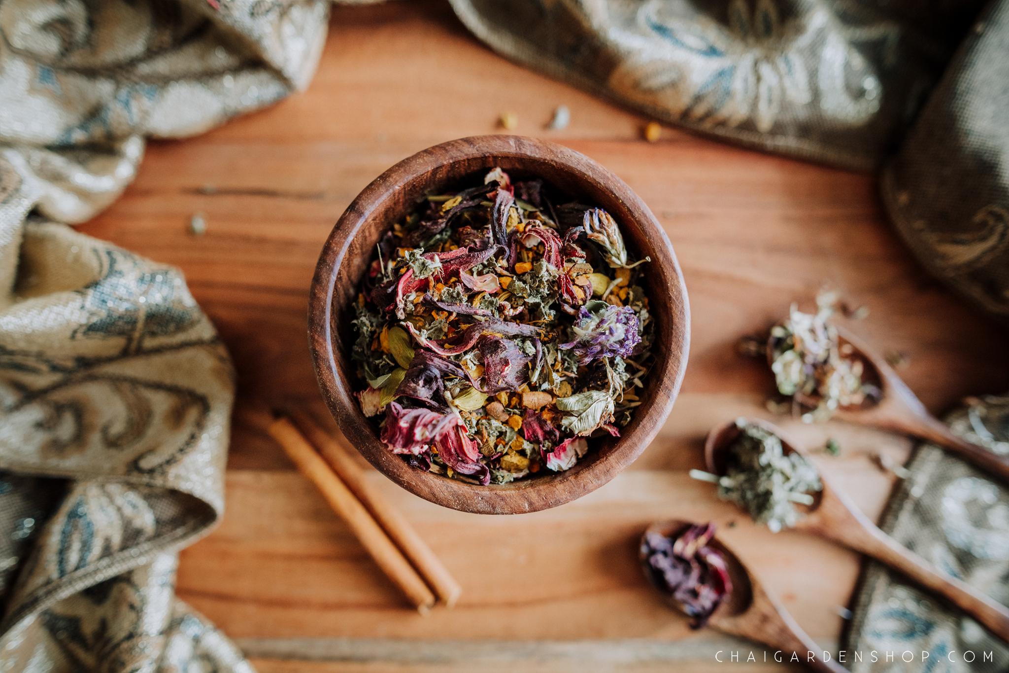 women's-wellness-tea,-well-woman-chai,-women's-health-chai,-menstruation-tea-organic, chai garden, organic herbal chai, organic tea, spokane wa