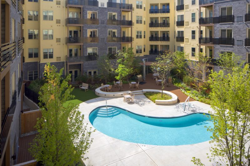 A pool and courtyard are part of the amenity package at Third & Valley in South Orange.