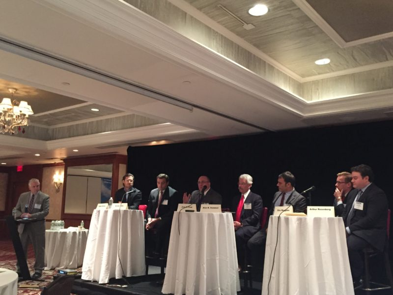 From left: Timothy J. Touhey, moderator and senior vice president with Investors Bank; Adam Altman, principal, partner and managing director with The KABR Group; Victor Cole, principal with AION Partners; Jose Cruz, senior managing director with HFF; Alan R. Hammer, member of Brach Eichler; Eric Margules, founder of Margules Properties Inc.; Noah Chrismer, director of planning for KRE Group; and Arthur Rosenberg, CEO and founder of Azure Partners