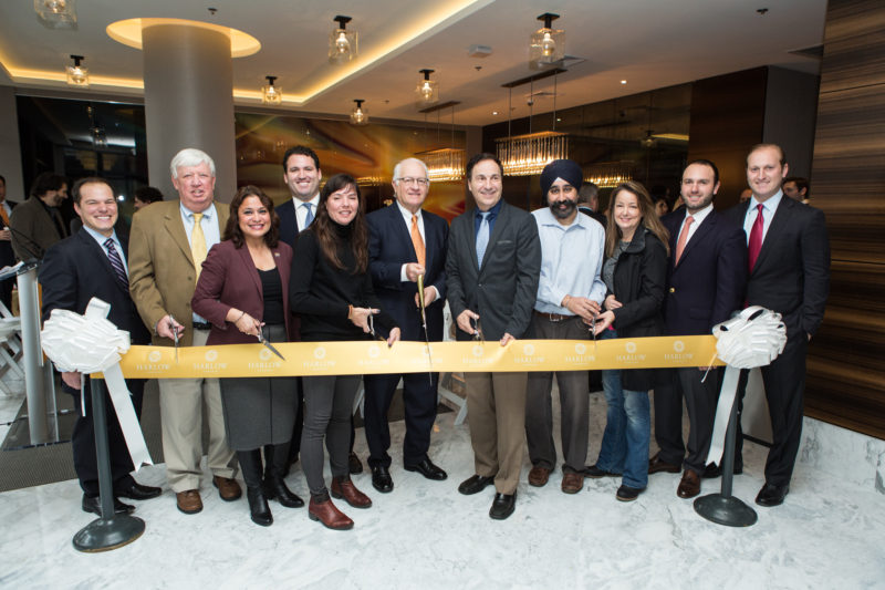 Advance Realty joined public officials on Wednesday to cut the ribbon on Harlow, the firm's new luxury rental building in Hoboken. — Courtesy: Beckerman