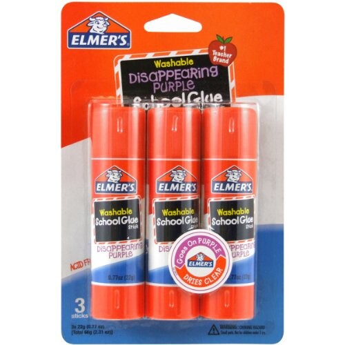 3ct Elmer's Disappearing Purple School Glue Sticks Up to 54% Off! Was $6.89!