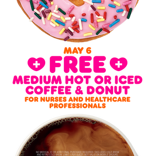 Dunkin' Donuts: Free Coffee & Donut for Healthcare Workers on May 6th!