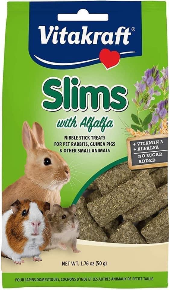 Vitakraft Slims with Alfalfa Rabbit, Guinea Pig & Small Animal Nibble Stick Treat, 1.76 oz – 49% PRICE DROP+SUB/SAVE!