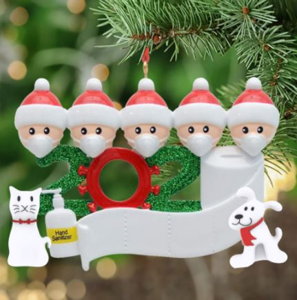 *HOT* Personalized Quarantine Christmas 2020 Ornament *MADE IN US!* Up to 7 People + Cat & Dog!