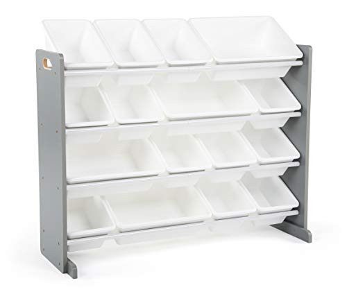 45% Off Humble Crew Supersized Wood Toy Storage Organizer, Extra Large, Grey/White! Was $109.99!