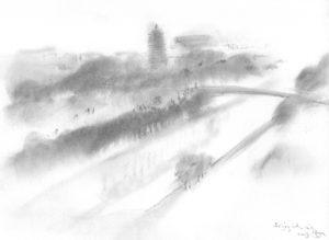 Beijing November 2015 sketch from hotel window 1