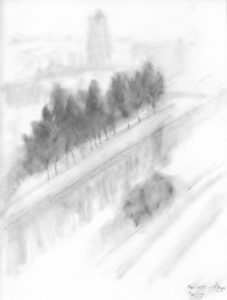 Beijing November 2015 sketch from hotel window
