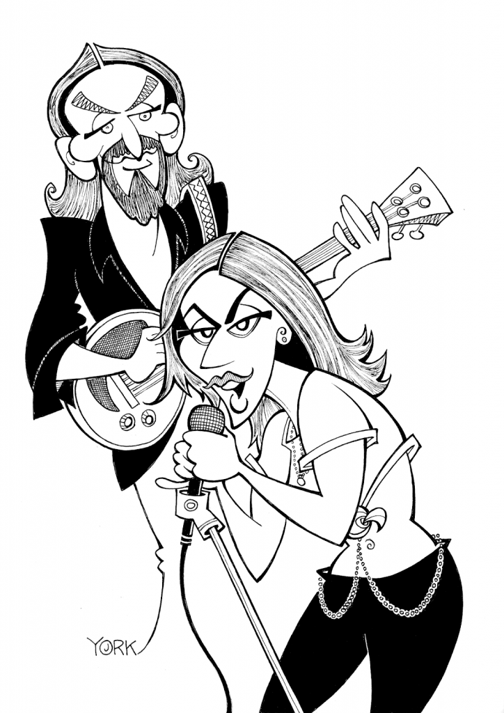 Original caricature of Bradley Cooper and Lady Gaga in A STAR IS BORN (copyright 2018)