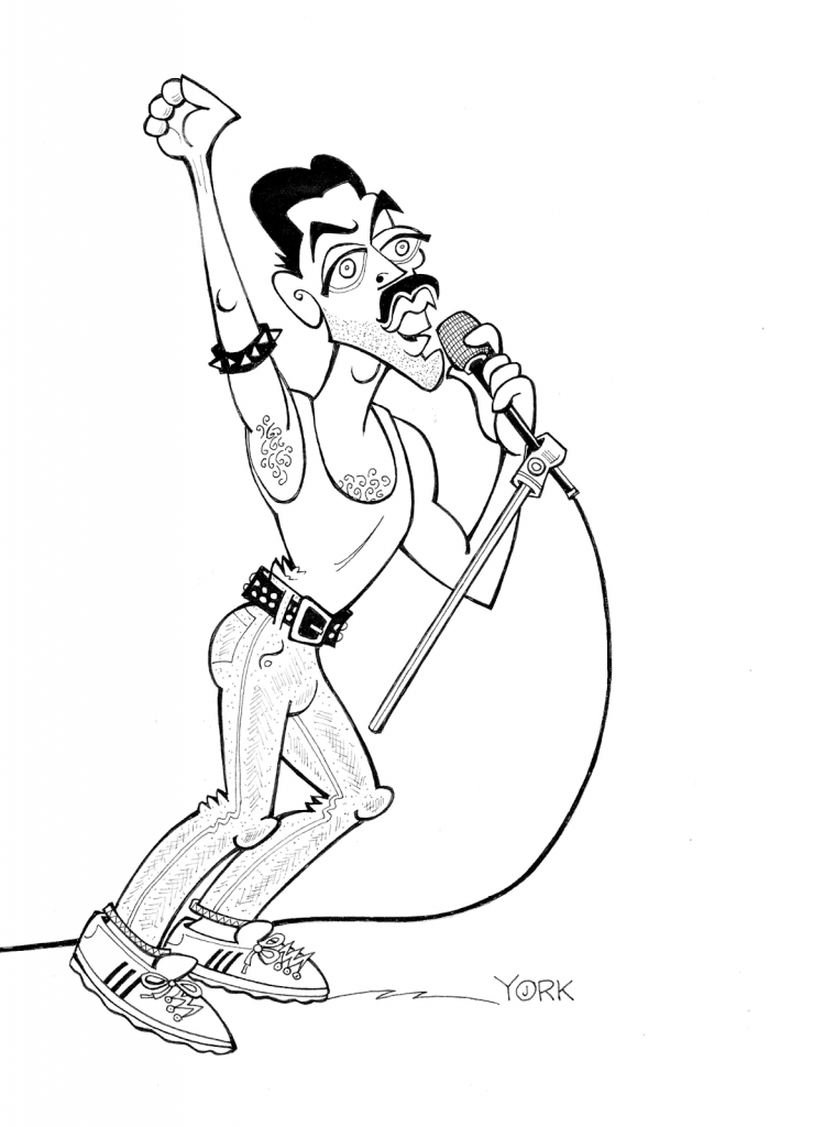 Original caricature by Jeff York of Rami Malek in BOHEMIAN RHAPSODY (copyright 2019)