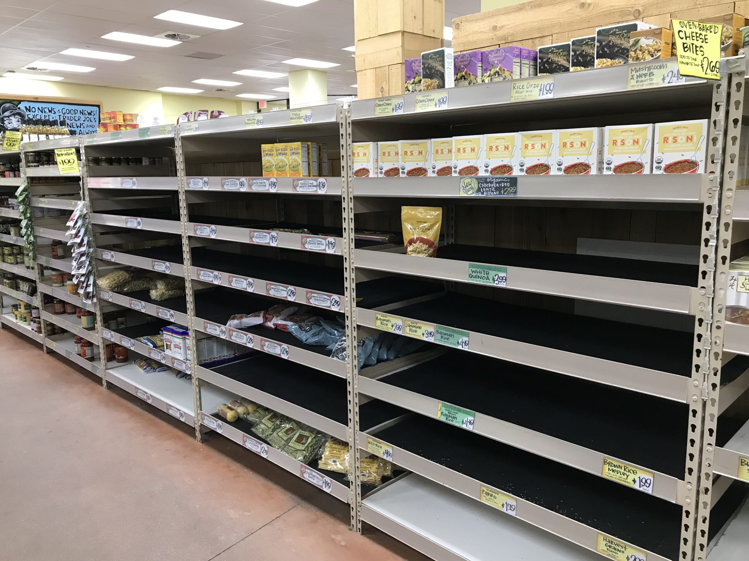 Empty shelves during COVId at Trader Joes, Food systems, food security, Jahn Research Group, Molly Jahn